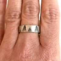 Thin Pine Tree Hand Stamped Ring, forest trees aluminum silver adjustable band cuff unisex birthday gift gifts for her him