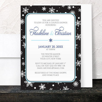 Winter Couples Shower Invitations - Midnight Snowflake design with Navy Blue and Black - Printed Invitations
