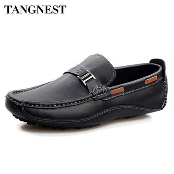 Tangnest Brand New Fashion Men Flats Soft Genuine Leather Loafers Man Casual Driving Shoes Solid Metal Boat Shoes Man XMR2523