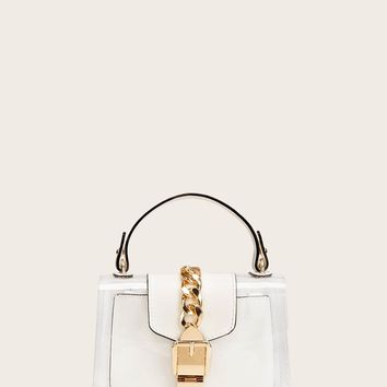 Transparent Chain Satchel Bag With Inner Clutch