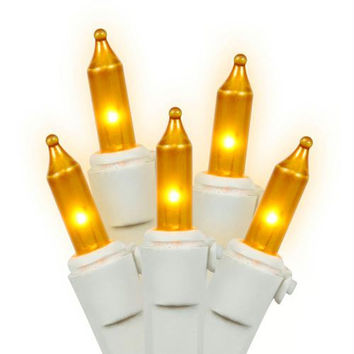 Gold Mini Christmas Lights - 100 Opaque Bulbs On White Wire