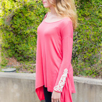 Lace Sleeve Tunic- Coral