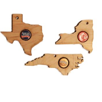 Home State shaped Christmas Ornaments Bottle cap holder