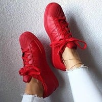 """Adidas"" Shell-toe Sneakers Sport Shoes Pure Color Flats Red"