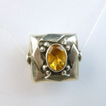 Oval Faceted Citrine Gemstone Sterling Silver Bali Square Bead with 14mm