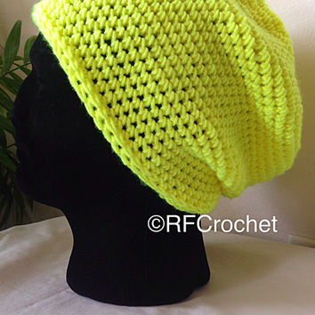 Classic Beanie in Neon Yellow | Adult Beanie | Unisex Crochet Hat | Hipster | Teen | Fashion Beanie | Green Yellow