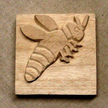 Carved Textile Stamp, African Bee, Oshiwa Wood Printing Block, Item 10-24-13
