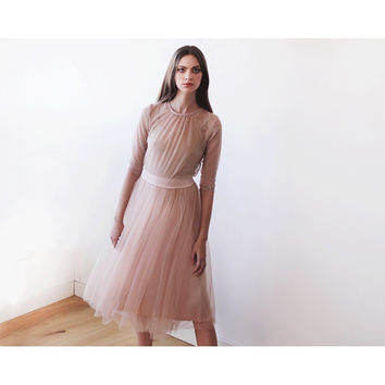 Pink Blush Skirt , Tulle Midi Skirt , Tea Length Skirt , Adult Tulle Skirt