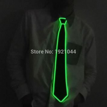 Festival Party Props Supplies EL Wire Glow Tie LED Neon Light up Necktie DC-3V Sound activated Driver