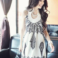 Vintage Print Halter Buttoned Back Mini Dress