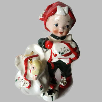 Lefton Exclusives Christmas Figurine Santa's Helper Elf With Present Sack Of Toys