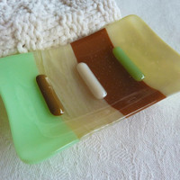 Mint Green, French Vanilla and Brown Glass Soap Dish