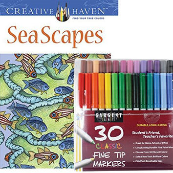 Sargent Art Classic Fine Tip Markers in a Case, Set of 30 and Dover Creative Haven Sea Scapes Coloring Book (Bundle of 2)