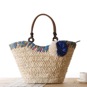 MISS YING 2017 Summer Fresh Style Beach Bags Women Weave Straw Flower Shoulder Bag Famous Brand High Quality Traveling Tote Bags