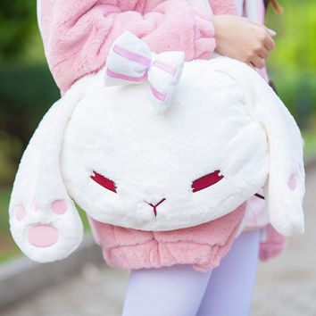 Fluffy Rabbit Ears Bow Handbag Shoulder Bag