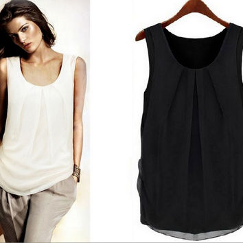 Chiffon Pleated Tank Top in Black or White