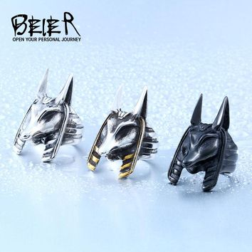 Anubis Egyptian God Ring Stainless Steel