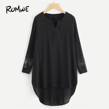 ROMWE Hollow Lace Panel Dip Hem Black Dress Spring Fall Ladies V Neck Long Sleeve Straight Asymmetrical Casual Plain Dress