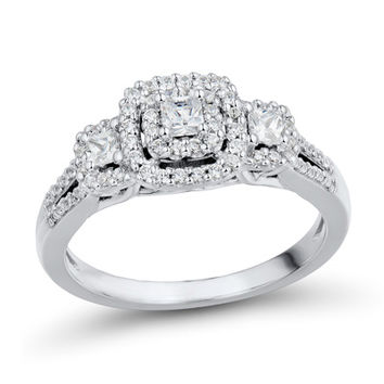 1/2 CT. T.W. Princess-Cut Diamond Past Present Future® Split Shank Ring in 14K White Gold