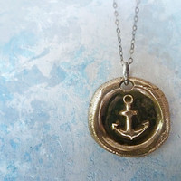 Anchor's Away Bronze Wax Seal Necklace. Nautical Themed Wax Seal Jewelry. Oxidized Sterling Silver Chain