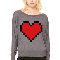 Pixel Heart WOMEN'S FLOWY LONG SLEEVE OFF SHOULDER TEE