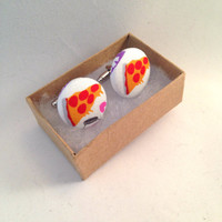Pizza Cufflinks • Pizza Print • Food Cufflinks • Covered button • Cuff links • Under 20 gift • Menswear Handmade • Pizza Gifts For Men •