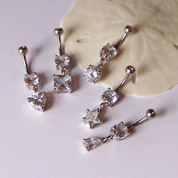 Crystal Belly Button Ring - Belly Button Jewelry - Belly Ring - Crystal Belly Button Ring - Choose Your Dangle Shape - Made to Order