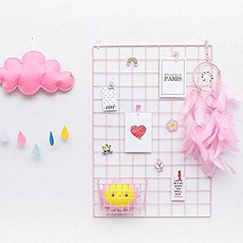 "basica Metal Grid Wall Wire Mesh Panel Picture Frame DIY Memo Board Photo Display for Decor, Size 25.6""x17.7"", 2-Pack, Pink"