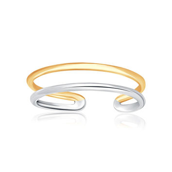 14K Two-Tone Gold Toe Ring with a Fancy Open Wire Style