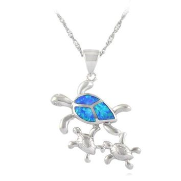 NOVO5 HAIMIS the Chian and Gift Box Cute Turtle Alsome Fire Opal Stone Pendant For Women 1'' OP236