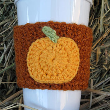 Crochet Pumpkin Coffee Cup Cozy from The Enchanted Ladybug