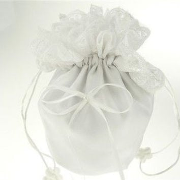 Wedding Bridal Shower Money Pouch Bag, 8-inch, Bow & Lace, White, CLOSEOUT