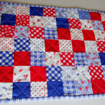 4th of July Quilted Patchwork Table Runner Cottage Chic  Red White and Blue