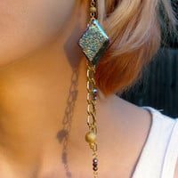 Amazon Earrings in Gold with Druzy, Iris Crystal Beads, & Gold Metal Beads
