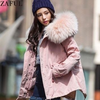 ZAFUL 2017 Autumn Winter Women Warm Thicken Down Jackets Fashion Faux Fur Hooded Down Coats Detachable three peices Set Femme