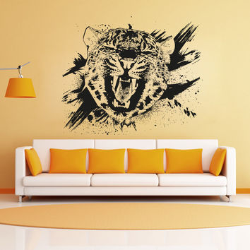 Vinyl Wall Decal Sticker Leopard Growl Grunge #OS_AA653