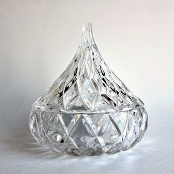 Crystal Hershey Kiss, German Jonal 24% Full Lead Crystal Candy Dish w/ Lid, Vintage Glass Teardrop, Made in W Germany