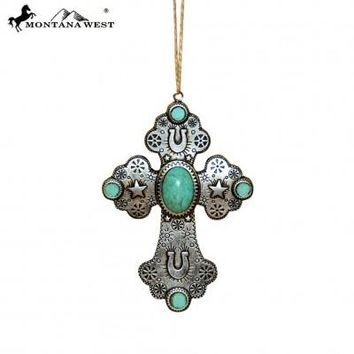 Montana West Silver Cross Resin Ornament