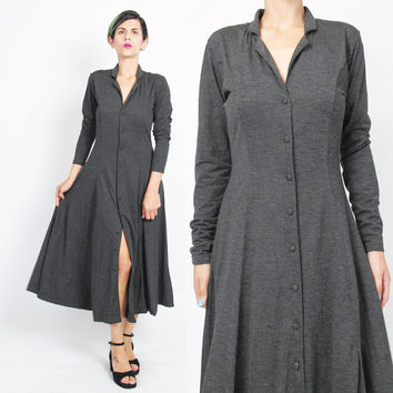 90s Long Sleeve Dress Heather Gray Dress Soft Jersey Knit Dress Button Up Front Dress Collared Fall Winter Dress Flared Full Skirt (S)