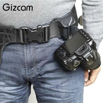 Gizcam Fast Loading Camera Photo Holster Waist Belt | Buckle Button Straps Accessories For DSLR Camera
