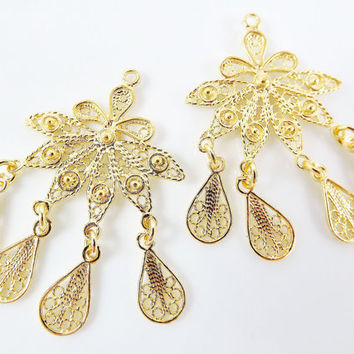 2 Delicate Petal Shaped Exotic Filigree Telkari Chandelier Earring Component Pendants - 22k Gold Plated