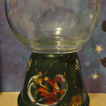 "Peter Pan Tinkerbell Captain Hook beta fish or goldfish bowl, 9 1/2"" tall, ceramic, glass, paint, handmade, unique gift!"
