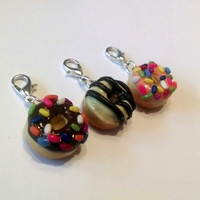 Doughnut Charm Collection, Polymer Clay Charms, Mini Food, Food Jewelry