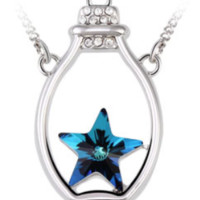 Swarovski Element Blue Crystal Wishing Bottle Necklace