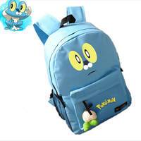 Japanese Anime Pokemon Poket Monster Kawaii Froakie Printing Backpacks for Teenage Girls Canvas Emoji School Bags for Teenagers