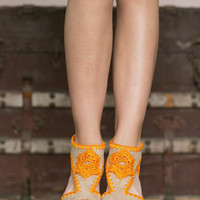 Crocheted Wedges, Hand Made Clogs, Wooden Heels, Woven Heels in Tan and Orange in Size 7.5 (SHOE-3992)
