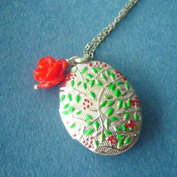 enamel locket with a red rose