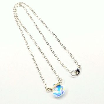 Sterling Silver Wire Wrapped Crystal Briolette Drop Necklace