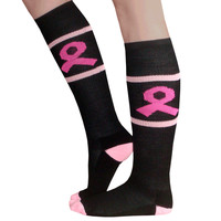 Black Breast Cancer Socks