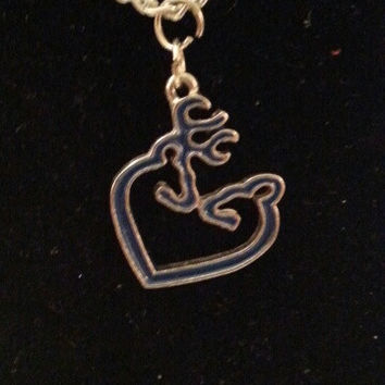 Blue browning buck and doe kissing heart style necklace, earrings,  key ring